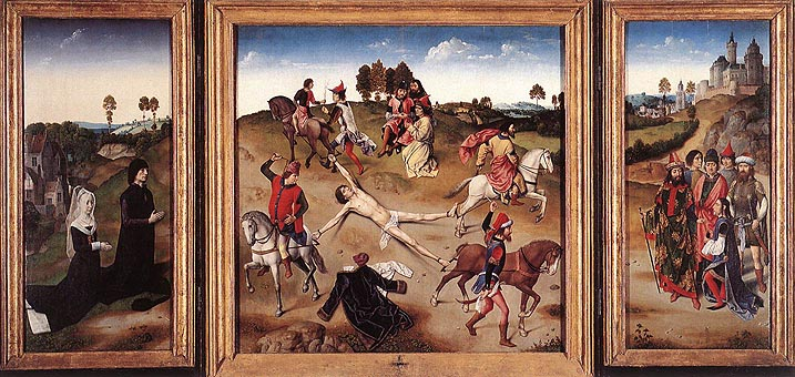De marteldood van Sint Hippolytus. Triptiek van Dirk Bouts en Hugo van der Goes. (ca. 1470-9)
